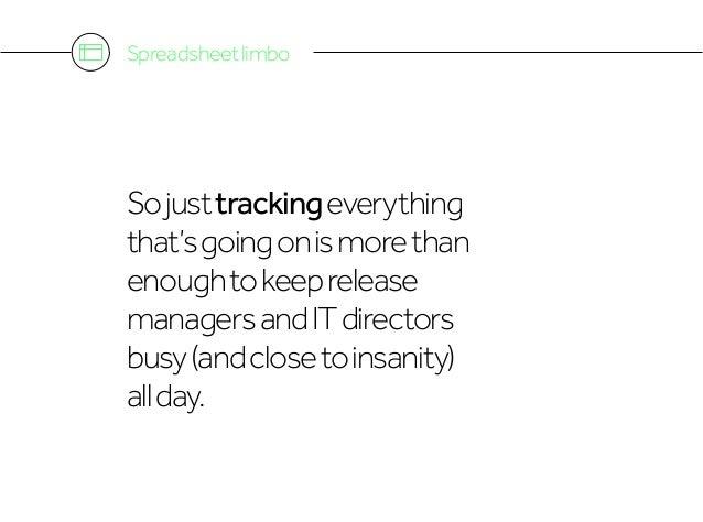 Spreadsheetlimbo Sojusttrackingeverything that'sgoingonismorethan enoughtokeeprelease managersandITdirectors busy(andclose...
