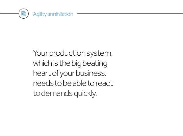 Yourproductionsystem, whichisthebigbeating heartofyourbusiness, needstobeabletoreact todemandsquickly. Agilityannihilation
