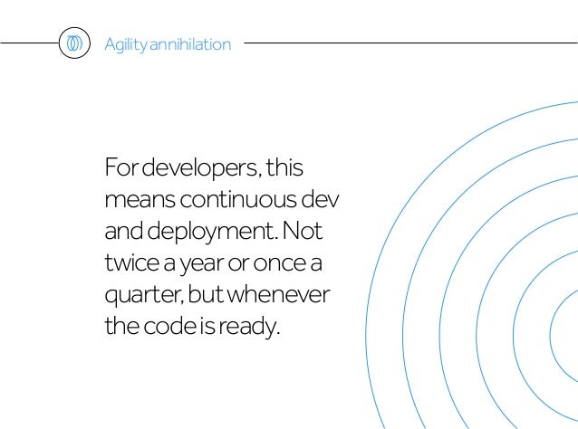 Fordevelopers,this meanscontinuousdev anddeployment.Not twiceayearoroncea quarter,butwhenever thecodeisready. Agilityannih...