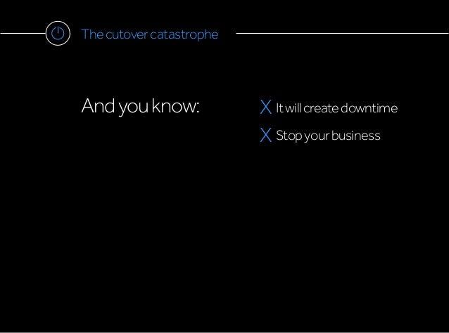 Thecutovercatastrophe Andyouknow: X Itwillcreatedowntime X Stopyourbusiness