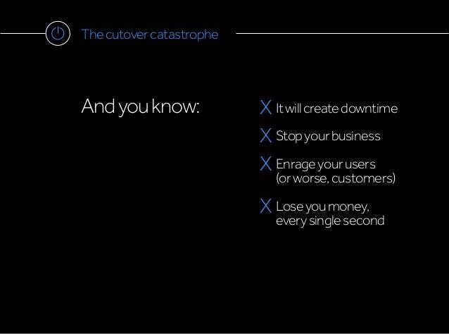 Thecutovercatastrophe Andyouknow: X Itwillcreatedowntime X Stopyourbusiness X Enrageyourusers (orworse,customers) X Loseyo...