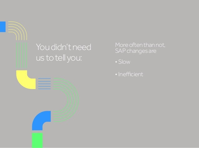 Youdidn'tneed ustotellyou: Moreoftenthannot, SAPchangesare •Slow •Inefficient