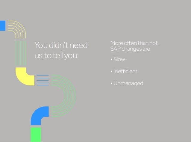 Youdidn'tneed ustotellyou: Moreoftenthannot, SAPchangesare •Slow •Inefficient •Unmanaged