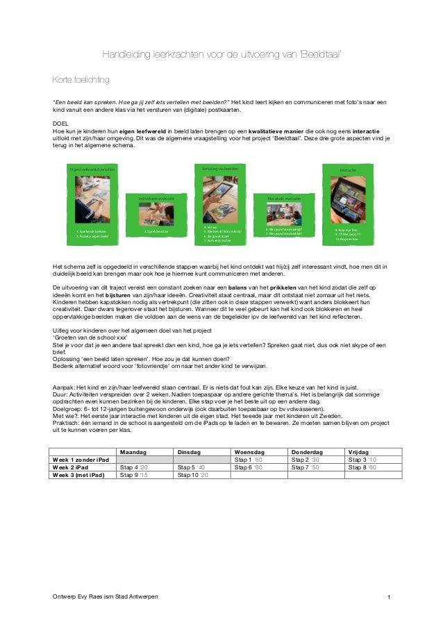 """Ontwerp Evy Raes ism Stad Antwerpen 1 Handleiding leerkrachten voor de uitvoering van 'Beeldtaal' Korte toelichting """"Een b..."""