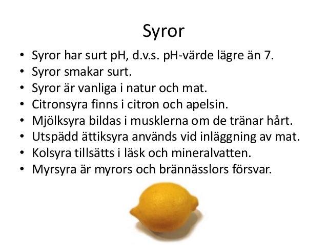 citronsyra ph värde