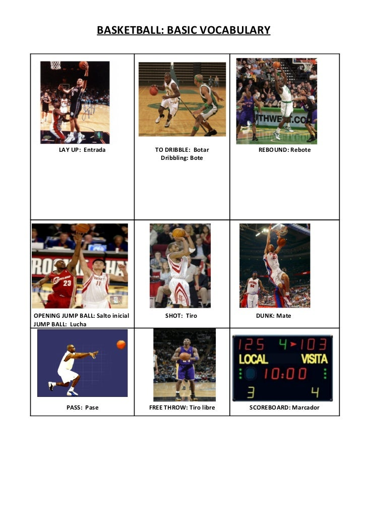 BASKETBALL: BASIC VOCABULARY        LAY UP: Entrada              TO DRIBBLE: Botar        REBOUND: Rebote                 ...