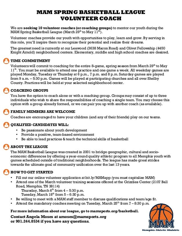MAM SPRING BASKETBALL LEAGUE VOLUNTEER COACH We are seeking 10 volunteer coaches (or coaching groups) to mentor our youth ...