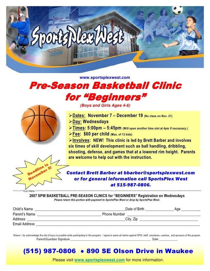 www.sportsplexwest.com                 Pre-                Pre-Season Basketball Clinic                           Beginner...