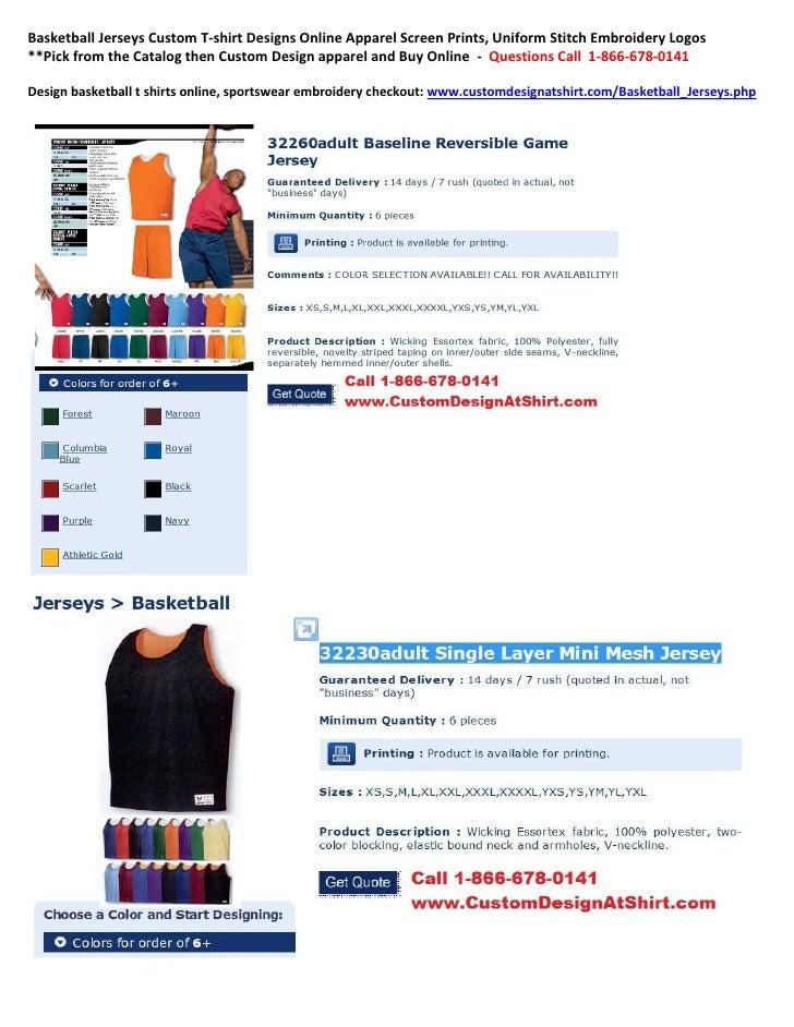 Basketball Jerseys Custom T-shirt Designs Online Apparel Screen Prints, Uniform Stitch Embroidery Logos**Pick from the Cat...