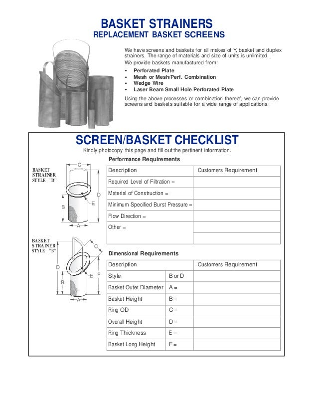 basket strainers replacement - Basket Strainer