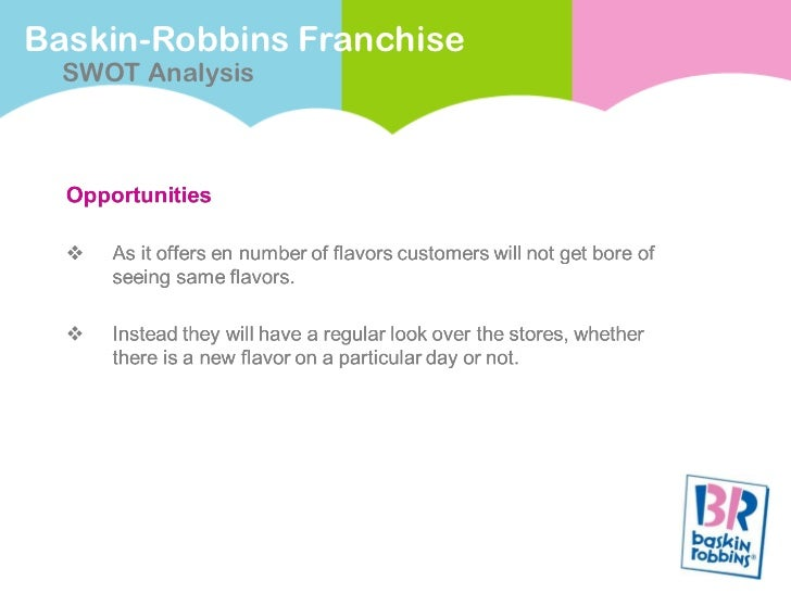 baskin robbins swot analysis This is the swot analysis of baskin robbins baskin robbins is the world's largest specialty ice cream store chain that was established in 1945 the company is currently based in canton, massachusetts the company has the slogan of '31 flavours' which is incorporated into their logo as well.