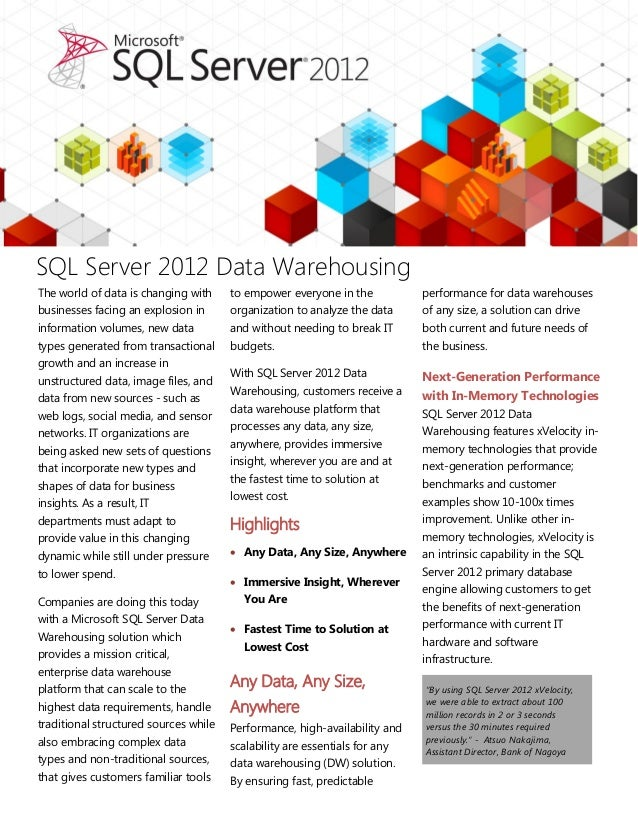 SQL Server 2012 Data WarehousingThe world of data is changing with     to empower everyone in the           performance fo...