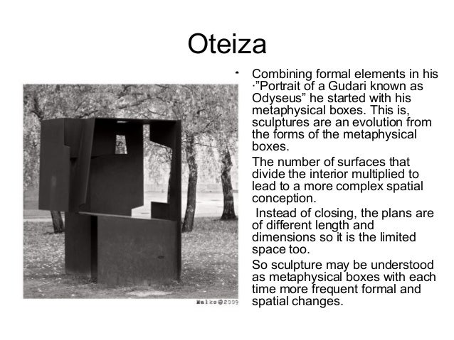 """Oteiza • Combining formal elements in his ·""""Portrait of a Gudari known as Odyseus"""" he started with his metaphysical boxes...."""