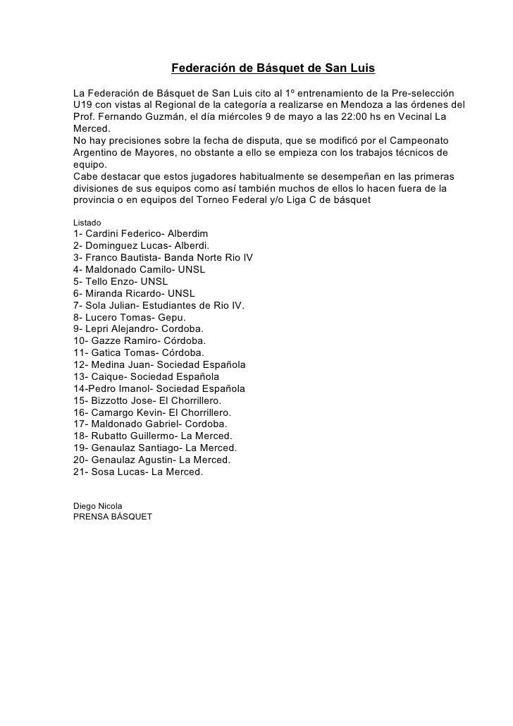 Federación de Básquet de San LuisLa Federación de Básquet de San Luis cito al 1º entrenamiento de la Pre-selecciónU19 con ...