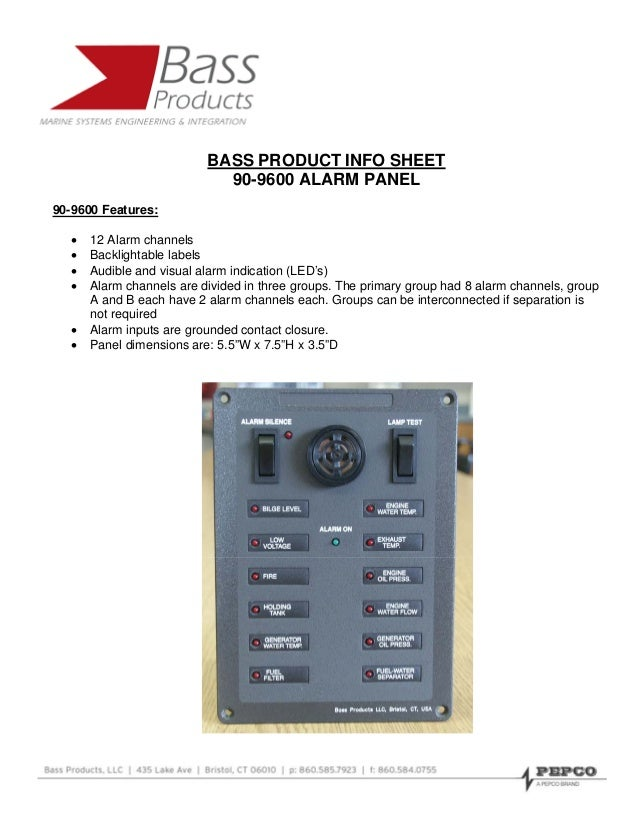 BASS PRODUCT INFO SHEET                             90-9600 ALARM PANEL90-9600 Features:   •   12 Alarm channels   •   Bac...