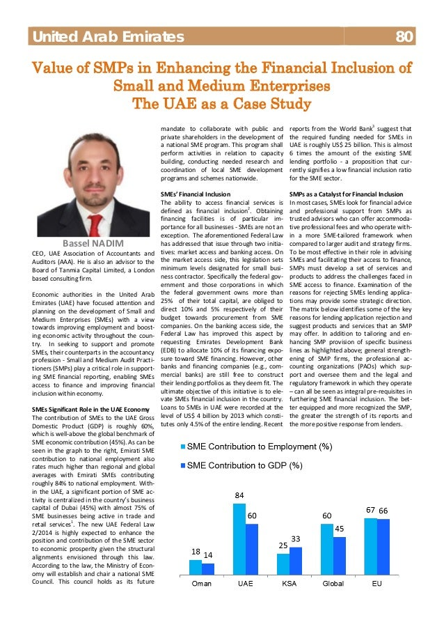 United Arab Emirates 80  Value of SMPs in Enhancing the Financial Inclusion of  Small and Medium Enterprises  The UAE as a...
