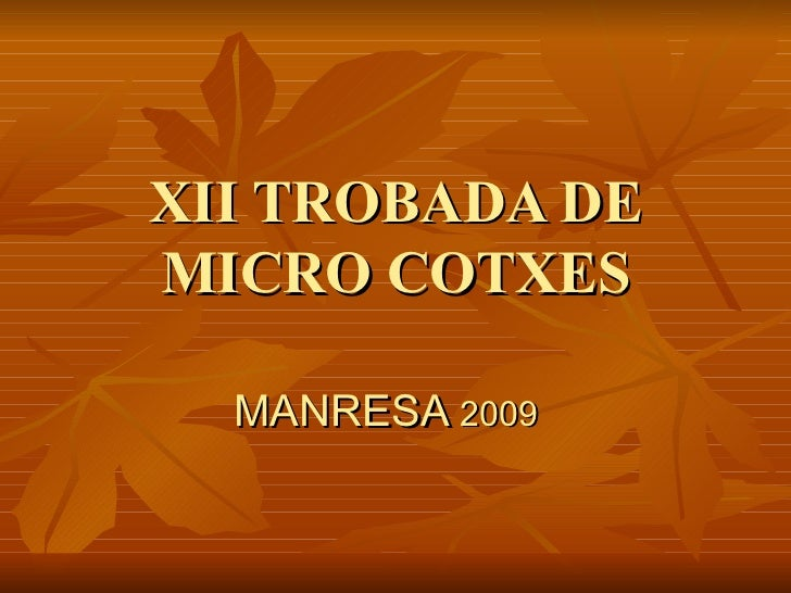 XII TROBADA DE MICRO COTXES MANRESA  2009