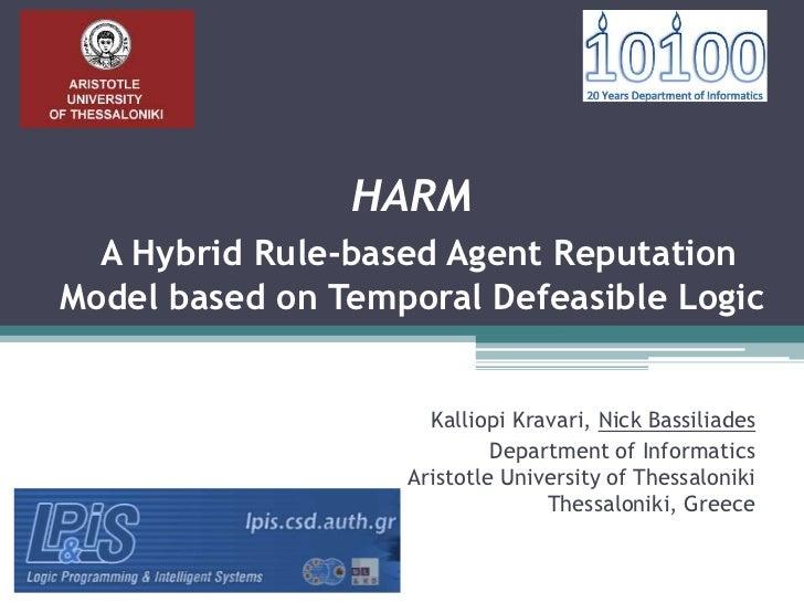 HARM  A Hybrid Rule-based Agent ReputationModel based on Temporal Defeasible Logic                     Kalliopi Kravari, N...