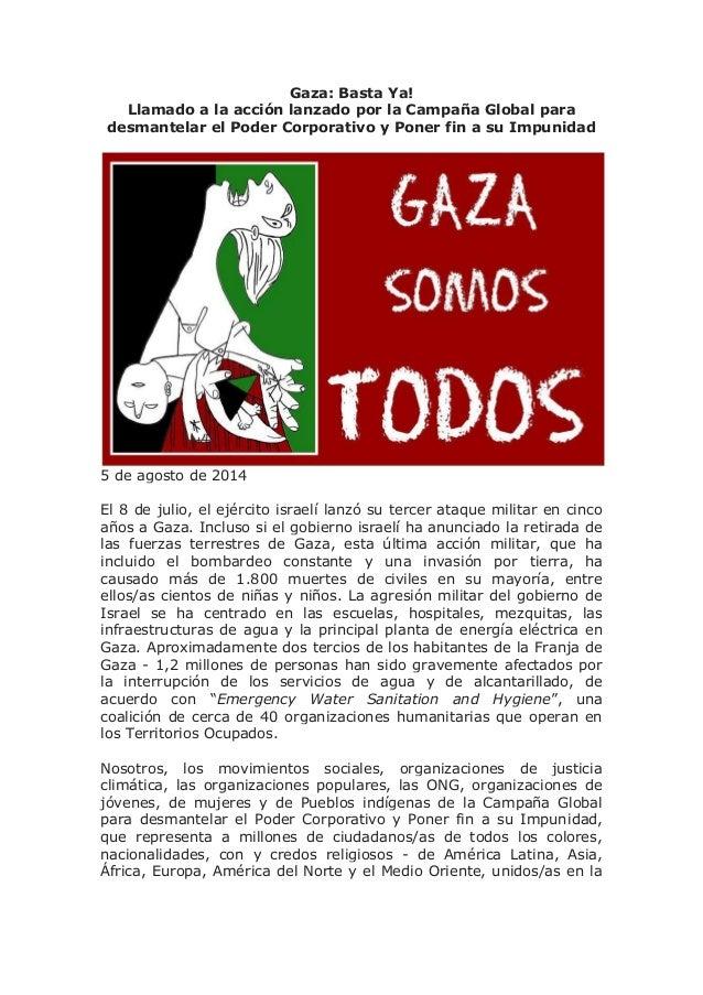 Gaza: Basta Ya! Llamado a la acción lanzado por la Campaña Global para desmantelar el Poder Corporativo y Poner fin a su I...