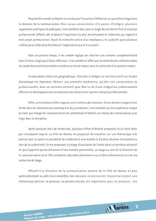 Bastien Andre Rapport De Stage Master 1 Communication Publique Et P