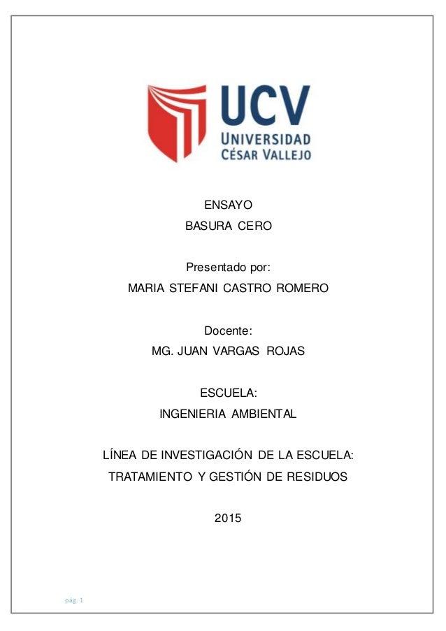 pág. 1 ENSAYO BASURA CERO Presentado por: MARIA STEFANI CASTRO ROMERO Docente: MG. JUAN VARGAS ROJAS ESCUELA: INGENIERIA A...