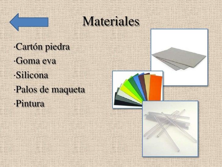 Materiales·Cartón piedra·Goma eva·Silicona·Palos de maqueta·Pintura