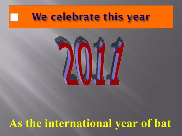 2011  As the international year of bat