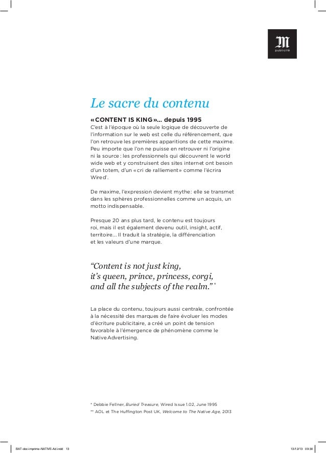 Le sacre du contenu «CONTENT IS KING»… depuis 1995 C'est à l'époque où la seule logique de découverte de l'information s...