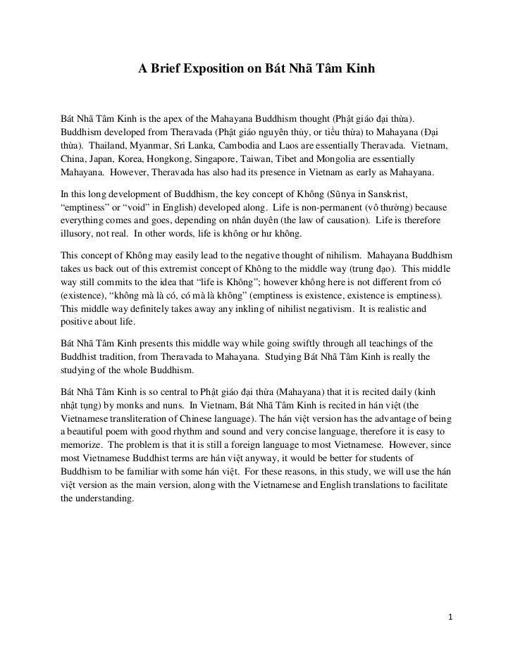 A Brief Exposition on Bát Nhã Tâm KinhBát Nhã Tâm Kinh is the apex of the Mahayana Buddhism thought (Phật giáo đại thừa).B...