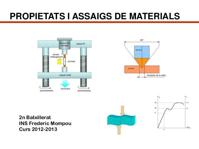 PROPIETATS I ASSAIGS DE MATERIALS 2n Batxillerat INS Frederic Mompou Curs 2012-2013