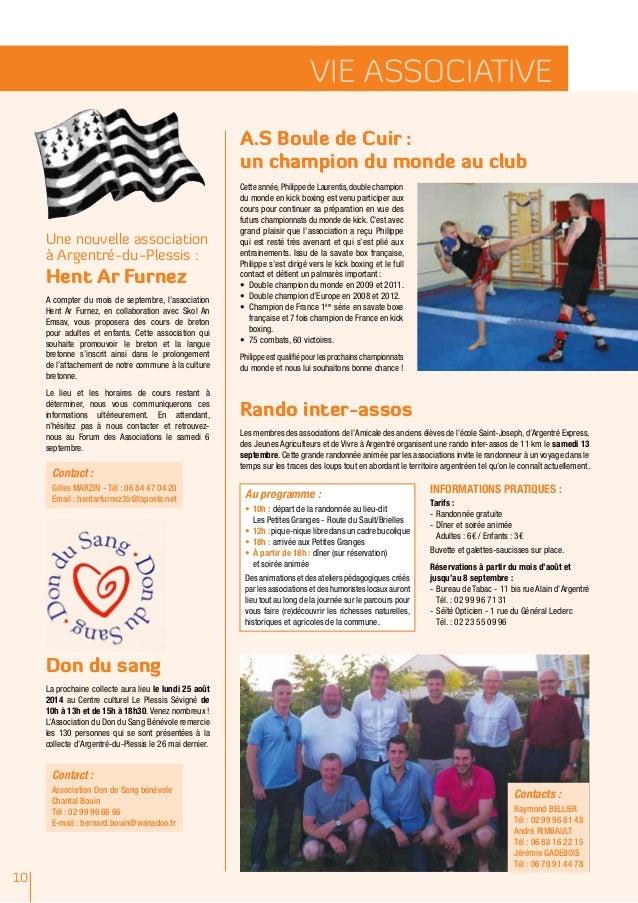 10 vie associative Une nouvelle association à Argentré-du-Plessis : Hent Ar Furnez A compter du mois de septembre, l'assoc...
