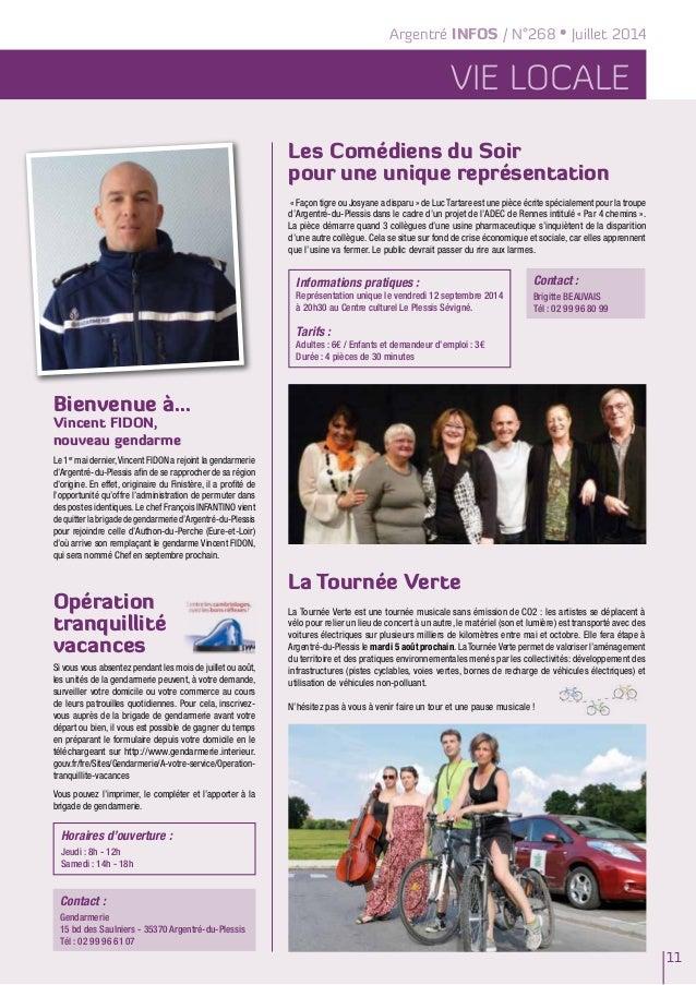 Argentré INFOS / N°268 • Juillet 2014 vie locale 11 La Tournée Verte La Tournée Verte est une tournée musicale sans émissi...