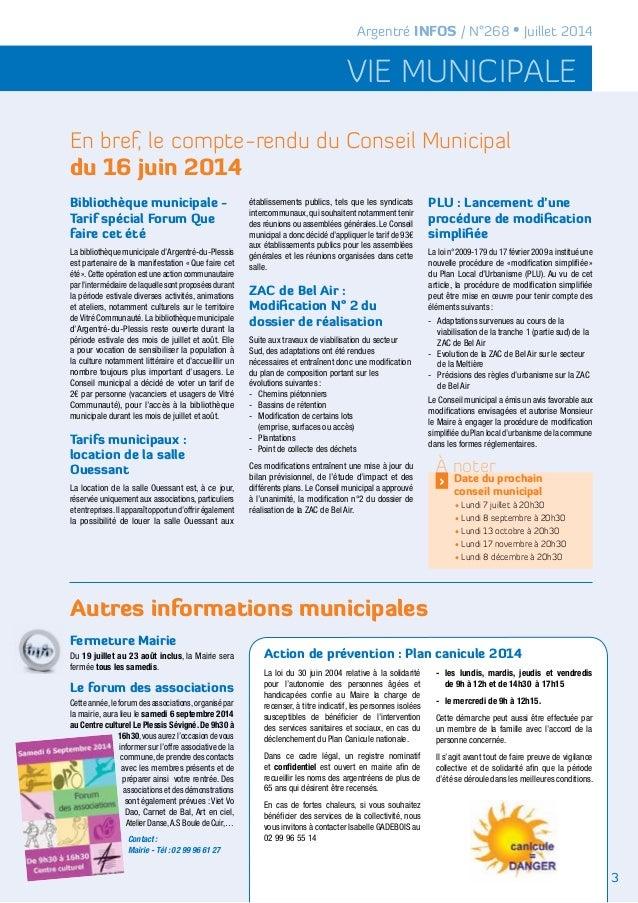 vie municipale Argentré INFOS / N°268 • Juillet 2014 En bref, le compte-rendu du Conseil Municipal du 16 juin 2014 Autres ...