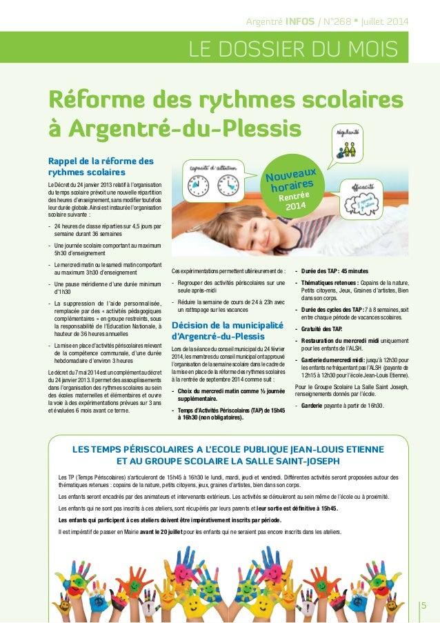 Argentré INFOS / N°268 • Juillet 2014 LE DOSSIER DU MOIS Rappel de la réforme des rythmes scolaires Le Décret du 24 janvie...