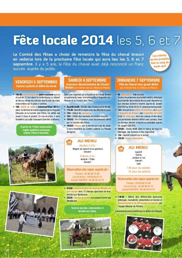 Fête locale 2014 les 5, 6 et 7 Le Comité des Fêtes a choisi de remettre la Fête du cheval breton en vedette lors de la pro...