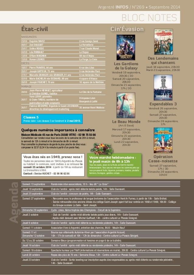 Agenda  Argentré INFOS / N°269 • Septembre 2014  bloc notes  Naissances  23/06 Eugénie RAVEZ 2 rue George Sand  09/07 Zoé ...