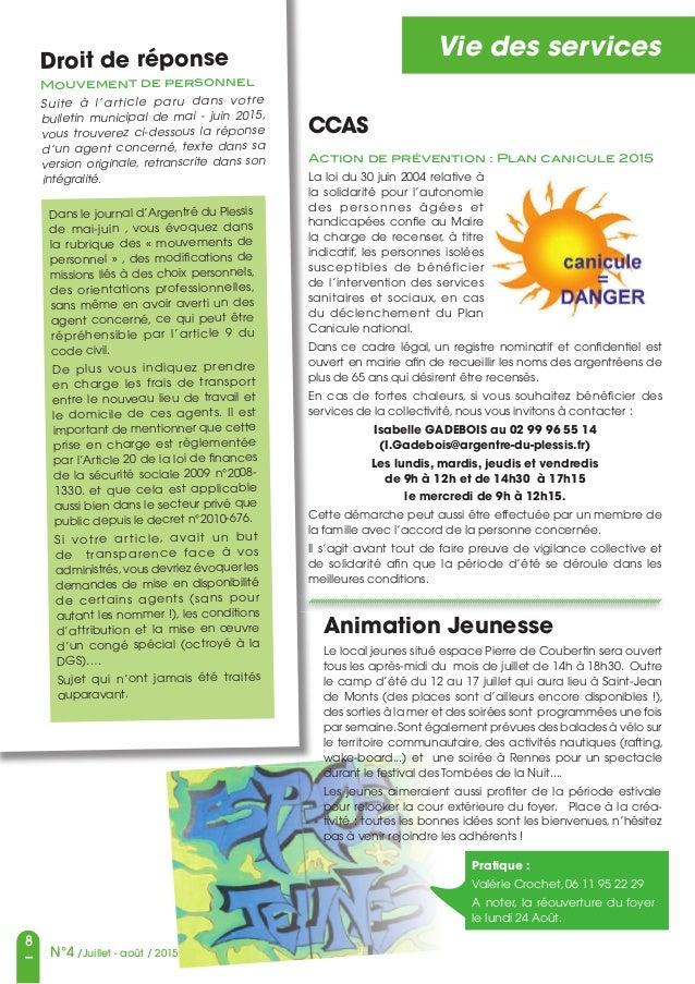8 N°4 /Juillet - août / 2015 Vie des servicesDroit de réponse Mouvement de personnel Suite à l'article paru dans votre bul...