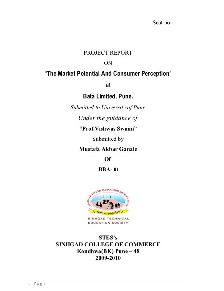 """Seat no.-                   PROJECT REPORT                           ON     """"The Market Potential And Consumer Perception""""..."""