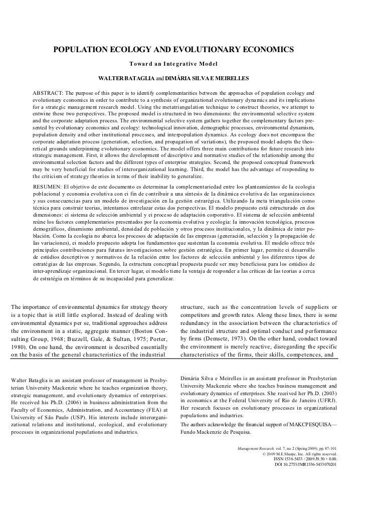 POPULATIO ECOLOGY A D EVOLUTIO ARY ECO OMICS                                                    Toward an Integrative Mode...