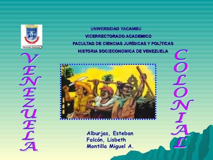 UNIVERSIDAD YACAMBU   VICERRECTORADO ACADEMICO   FACULTAD DE CIENCIAS JURÍDICAS Y POLÍTICAS   HISTORIA SOCIECONOMICA DE VE...