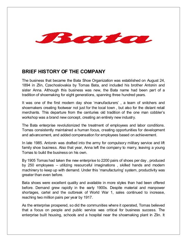 bata shoes organization essay The business that became the bata shoe organization was established on  august 24, 1894 in zlin, czechoslovakia by tomas bata, and included his brother .