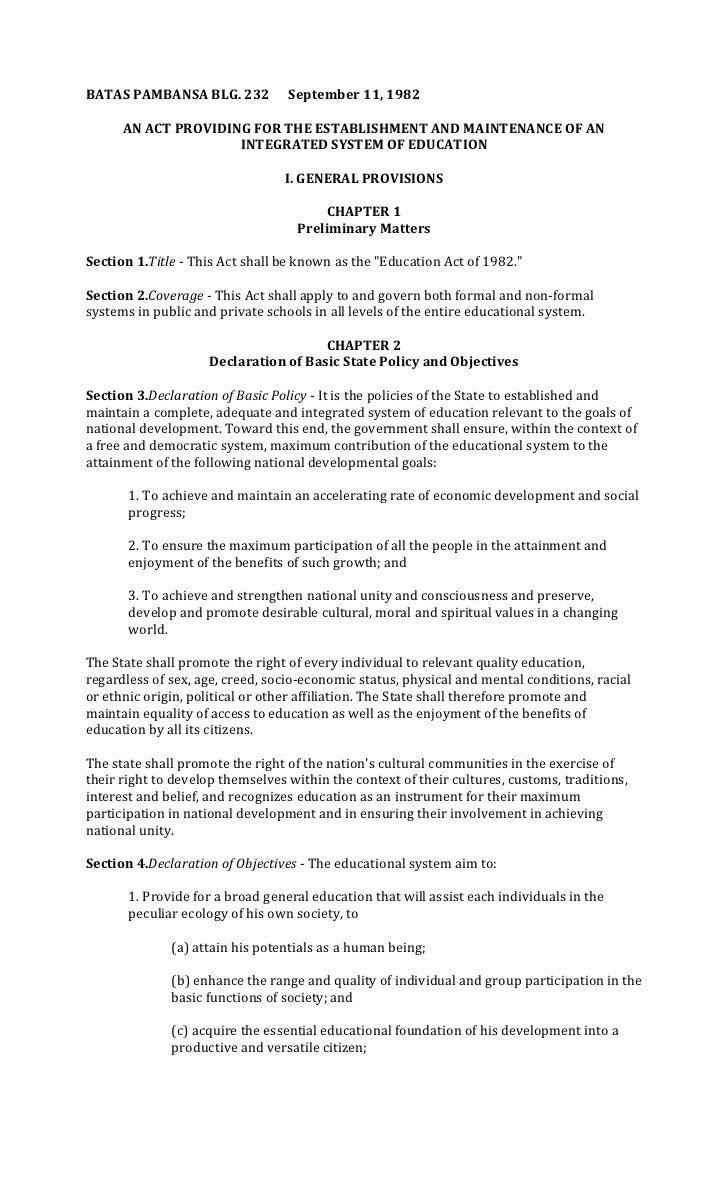 BATAS PAMBANSA BLG. 232           September 11, 1982      AN ACT PROVIDING FOR THE ESTABLISHMENT AND MAINTENANCE OF AN    ...