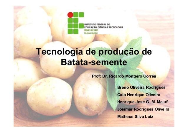Tecnologia de produção deBatata-sementeBreno Oliveira RodriguesCaio Henrique OliveiraHenrique José G. M. MalufJosimar Rodr...