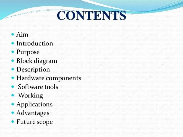 2  contents  aim  introduction  purpose  block diagram