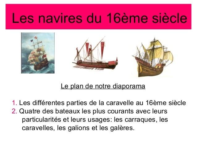 Les navires du 16ème siècle Le plan de notre diaporama 1. Les différentes parties de la caravelle au 16ème siècle 2. Quatr...