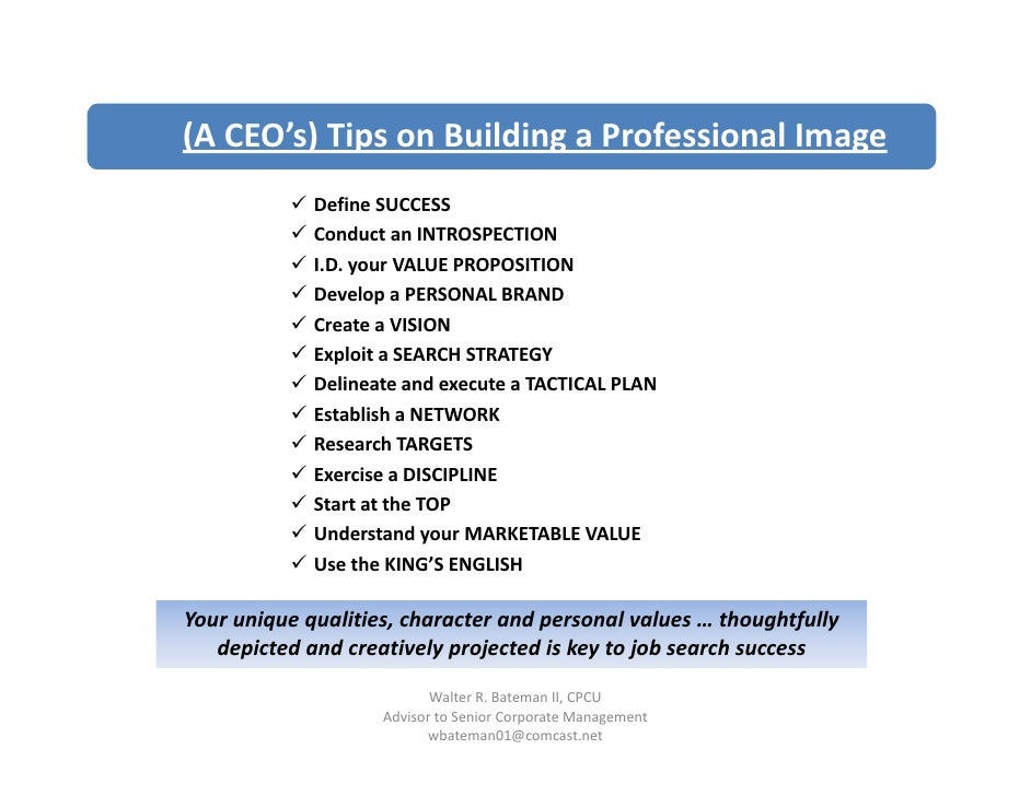 ( C O s) ps o u d g a o ess o a (A CEO's) Tips on Building a Professional Image                                           ...