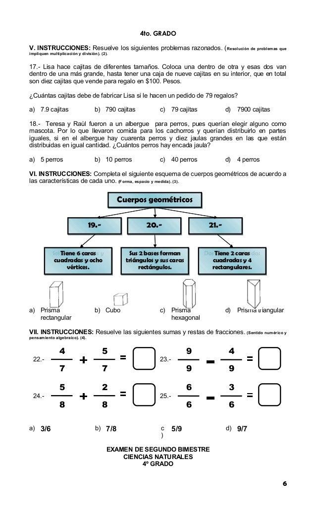 Batería de examen 2012 2013 cuarto grado bloque 2
