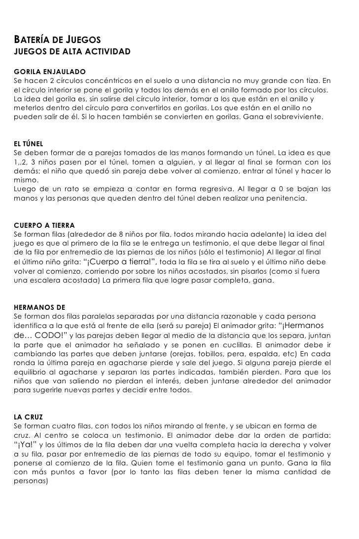 BATERÍA DE JUEGOS JUEGOS DE ALTA ACTIVIDAD  GORILA ENJAULADO Se hacen 2 círculos concéntricos en el suelo a una distancia ...