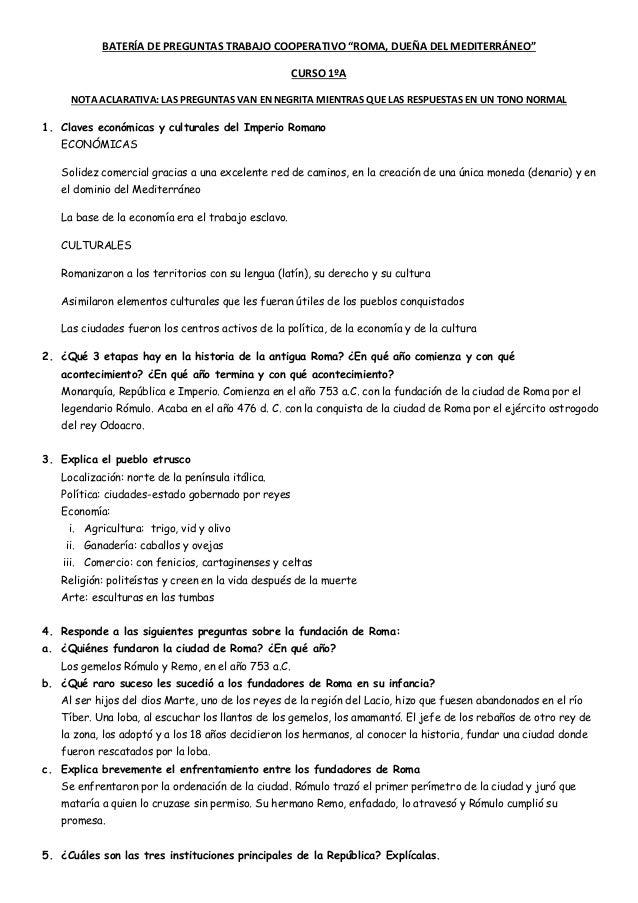 """BATERÍA DE PREGUNTAS TRABAJO COOPERATIVO """"ROMA, DUEÑA DEL MEDITERRÁNEO"""" CURSO 1ºA NOTA ACLARATIVA: LAS PREGUNTAS VAN EN NE..."""