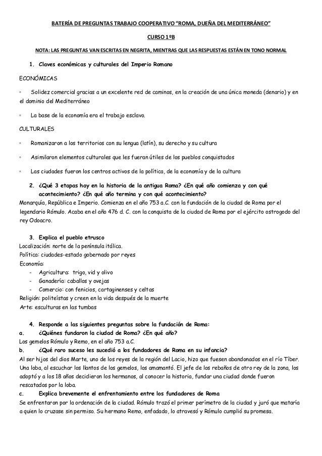"""BATERÍA DE PREGUNTAS TRABAJO COOPERATIVO """"ROMA, DUEÑA DEL MEDITERRÁNEO"""" CURSO 1ºB NOTA: LAS PREGUNTAS VAN ESCRITAS EN NEGR..."""